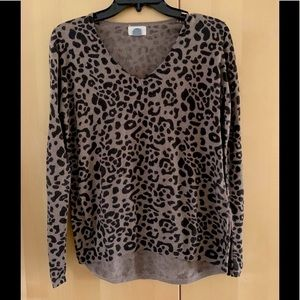 Old Navy Sweater cotton blend brown animal print S